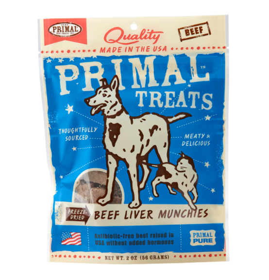 PRIMAL - Freeze Dried Beef Liver Munchies Dog/Cat Treats 2oz